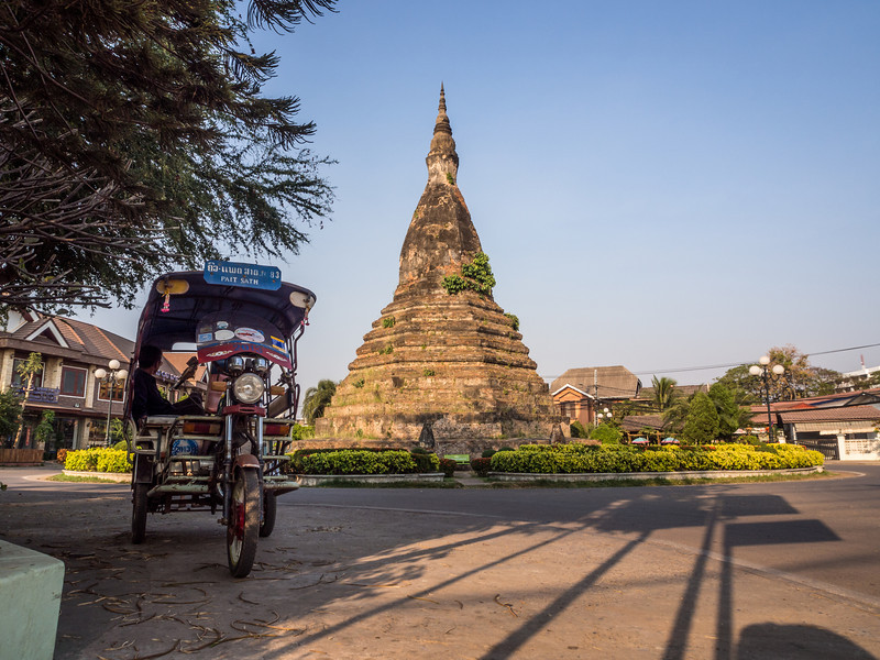 Old Stupa and Tuk Tuk, Vientiane, Laos