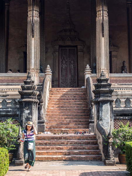 Woman at Haw PHa Kaew Temple, Vientiane