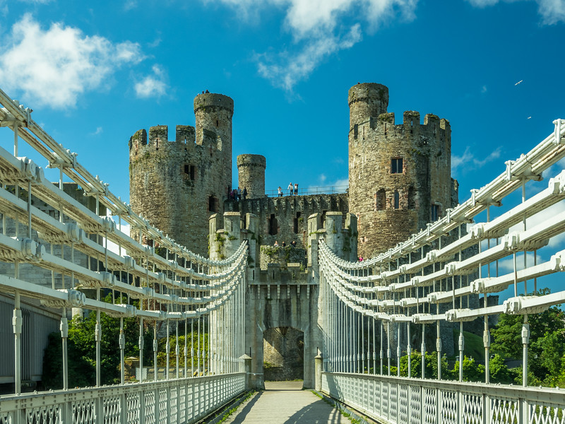 The Castle from the Suspension Bridge, Conwy, Wales