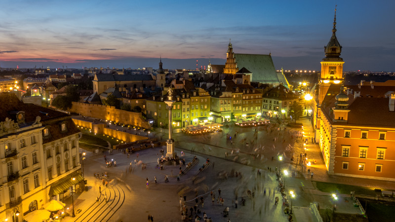 Castle Square by Night, Warsaw, Poland