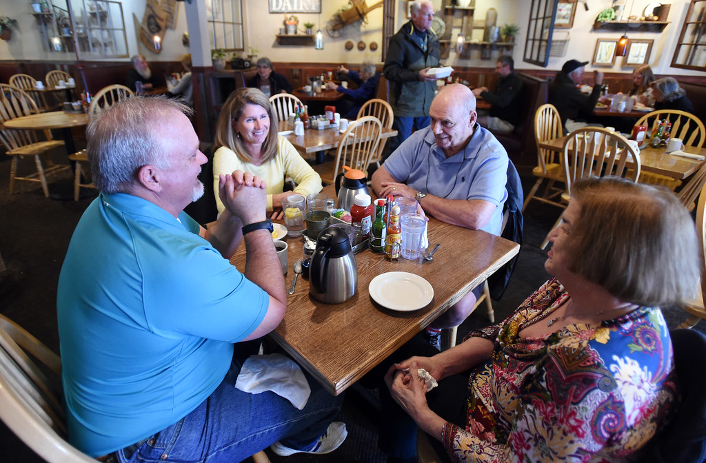 . Mark Stager, left, Barbara Stager, Jerry Francone, and Jeanne Francone, have lunch at the Garden Gate Cafe in Niwot.  Cliff Grassmick / Staff Photographer/ April 4, 2018