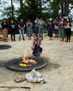 Traditional Mayan Ceremony of Gratitude at the Pascual Abaj Mayan religious site in Chichicastenago