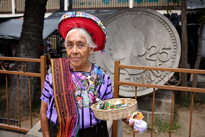 A woman in Santiago Atitlán demonstrating the traditional Mayan cinta headwear