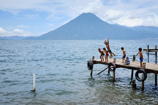 Kids playing near Jaibalito, Lake Atitlán, Guatemala