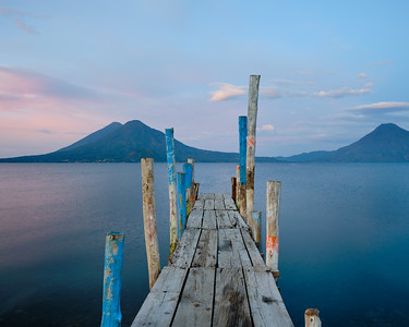 Early morning sunrise at the old wooden piers in Panajachel, Lake Atitlán