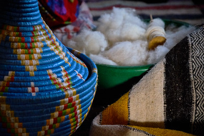 Inside Amina's rug workshop.
