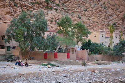 The old Kasbah les Roches hotel & restaurant.  The building is located at the bottom of Toudra Gorge and was permanently damaged when a rockslide fell on it, killing numerous people.  Today it is home to a number of squatters.