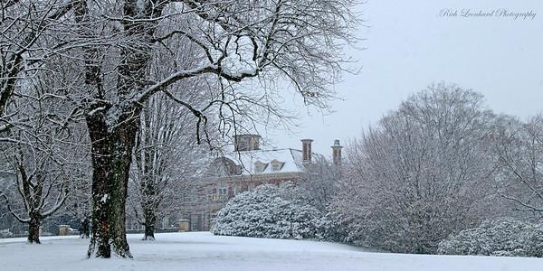 Westbury House on snowy day at Old Westbury Gardens. 2017
