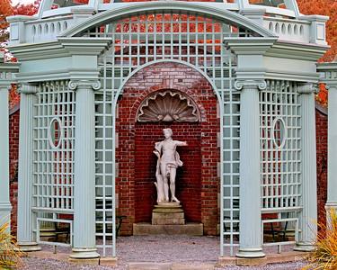 Sculpture in Walled Garden at Old Westbury Gardens.