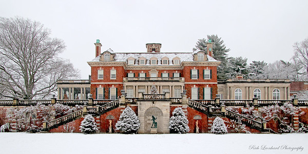 Westbury House at Old Westbury Gardens during snowfall with Christmas Tree.  2017.