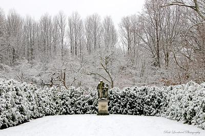 Snowy sculpture scene at Old Westbury Gardens. 2017