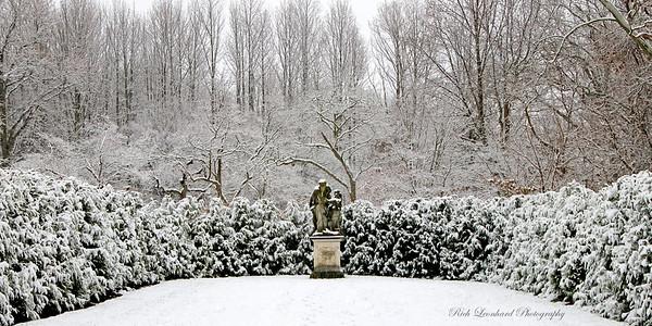 Snowy scene with sculpture at Old Westbury Gardens.  2017