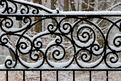 Snow covered Wrought Iron gate at Old Westbury Gardens. 2017