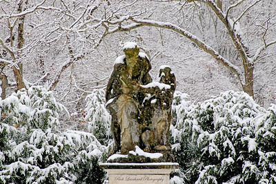 Sculpture during snowfall in Old Westbury Gardens.  2017.