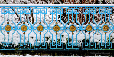 Beautiful blue and gold fence at Old Westbury Gardens. 2017