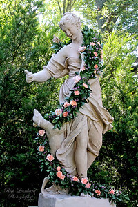 Sculpture with Roses at Old Westbury Gardens.