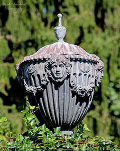 Sculpture by pool in Planting Fields Arboretum.