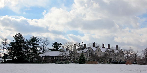 Coe Hall with first snow of 2017. At Planting Fields Arboretum.