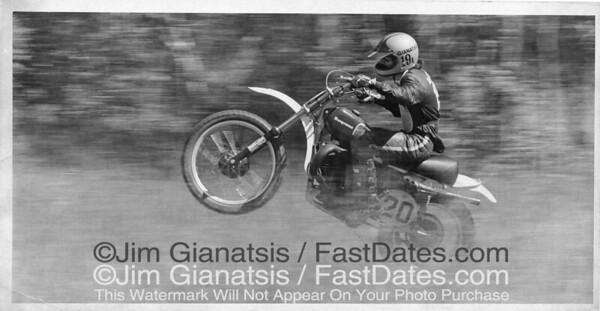Cycle News editor and photographer Jim Ginatsis testing 1972 World Champion Heikki Mikkola's Trans AM Husqvaran CR360 in the USA.