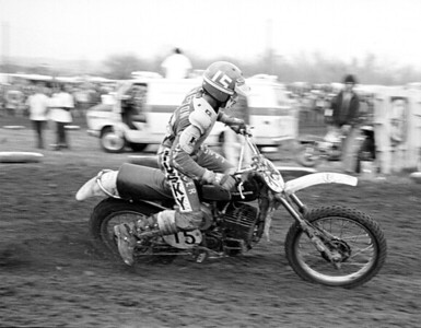 Husqvarna USA factory rider Kent Howerton, AMA 250c National Champion, shown here at the 1975 Saint Louis USA Trans-AMA race on a Husqvarna CR360