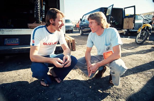 Roger DeCoster, Bob Hanah talking at the 1976 Trans-AMA Series