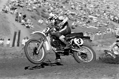 Husqvarna 250cc AMA National Motocross Champion Kent Howerton on a CR360 at the 1976 USA Saddleback Park Yrans-AMA race. Stock bike with Fox Air Shox