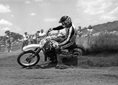 Classic American Motocross Photography by Jim Gianatsis. Marty Tripes on facoryy Harley-Davidson 360MX during the 1977 AMA National Motocross Championship