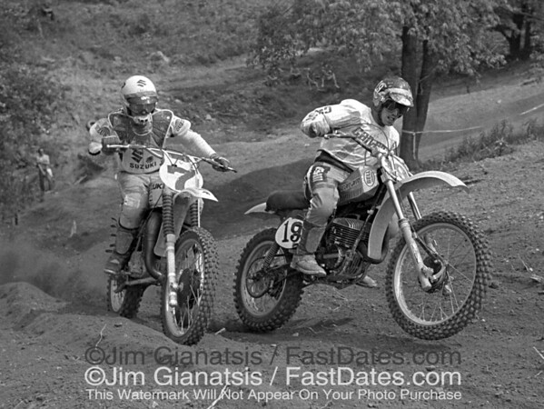 Danny LaPorte Suzuki RN465, and Jimmy Ellis, Can-Am 370, 1977 Unadilla National.