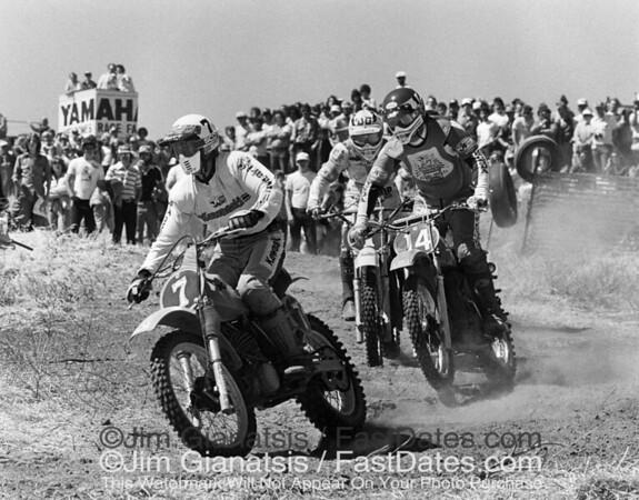 Jimmy Weinert leads Marty Tripes and Bob Hannah at the 1979 Herman, Nebraska 250cc National.