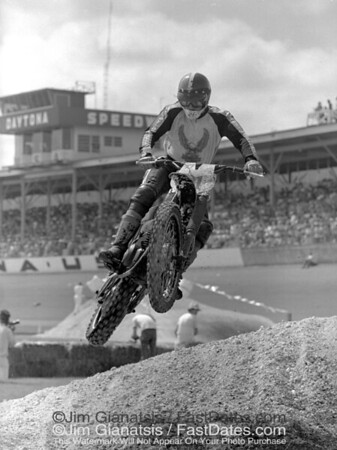 Marty Tripes on the Harley-Davidson MX 250 at the Daytona 1977 Supercross.