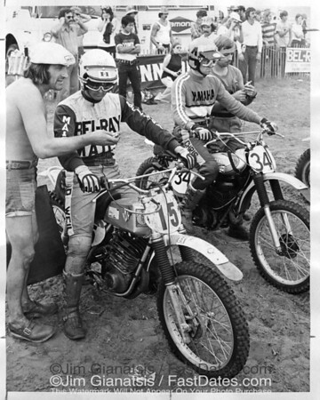 1973 Mid-Ohio Trans-Am start wirth Adolf Weil, Maico 450, and Christer Hammergren, Yamaha OW39.
