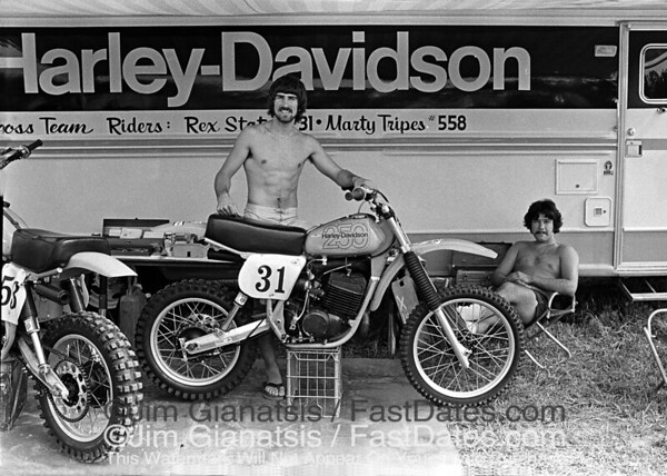 The 1977 Harley-Davidson Factory Motocross Team of Rex Staten and Marty Tripes.