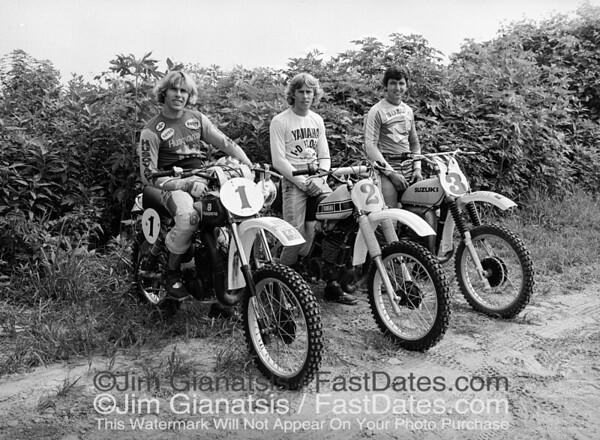 The 3 Reigning AMA National MX Champions from 1976: (1) Kent Howerton 250cc Husqvarna, (2) Bob Hannah 125cc Yamaha, (3) Tony DiStefano 500cc Suzuki photographed  at the 1977 Trans-Am.