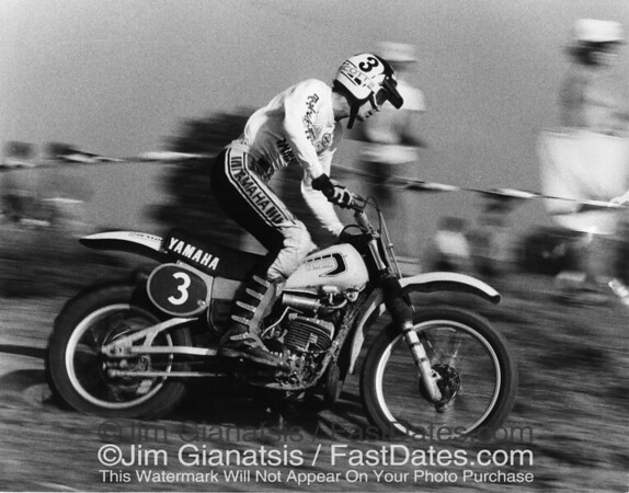 "Mike "" Too Tall"" Bell on the works 1977 Yamaha OW490."