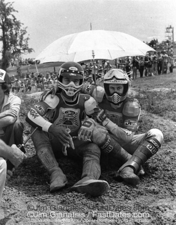 "Close friends, Marty "" Typhoon"" Tripes and Bob "" Hurricane Hannah"" before the start 1979 250cc Nationals."