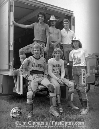 "The Boys of Summer 1976, left to right from the top: Billy ""Sugar Bear"" Grossi, ""Gassin'"" Gaylon Mosier. Jimmy ""Captain Cobalt"" Ellis, Rick ""Lumberjack"" Burgett, Bob ""Hurricane"" Hannah, Steve ""Short Stack"" Stackable."