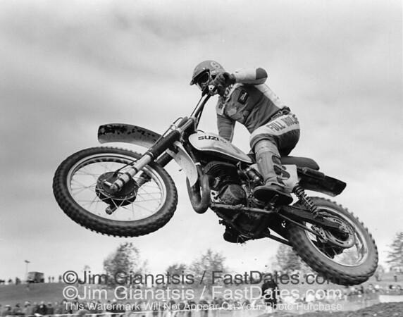 Tony Distefano, 500cc National Champion, at the 1977 Red Bud National, Michigan.