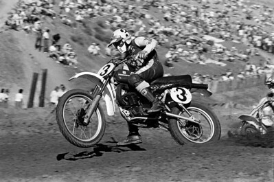Husqvarna 250cc AMA National Motocross Champion Kent Howerton on a CR360 at the 1976 USA Saddleback Park Yrans-AMA race. Stock bike with Fox Air Shox