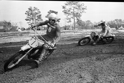 Mark Blackwell, 1971 USA 500cc National Motocross Champion on Husqvarna CR 400.  Shown here winning at the 1972 Florida Winter-AMA Series with his #1 plate before going to Europe to race in the 500cc World Motocros Championship for Husky. An eye injury casued by a thrown stone would effectively end his racing career that season. Here mark is ahead of (88) Gary Jones on the factory Yamaha who would become the 1972 AMA 250cc National Motocross Champion later this year.