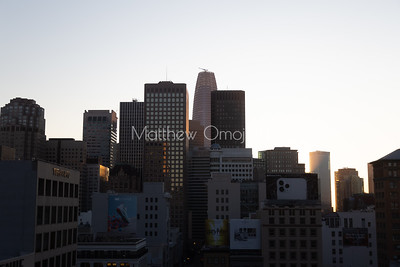 Daybreak golden hour foggy morning San Francisco California skyline. Salesforce tower tallest building. Editorial photo.