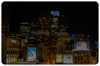 Night Scene SAn Francisco skyline. Salesforce tower with moon. Good for editorials