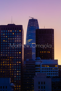 Daybreak blue hour San Francisco California skyline. Salesforce tower tallest building.