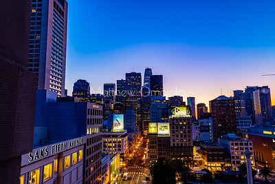 Day Break blue hour over San Francisco California US. Union Square right foreground. Salesforce tower tallest building. Editorial photo.