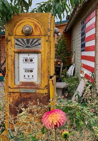 Old gas pump in Hood River valley.