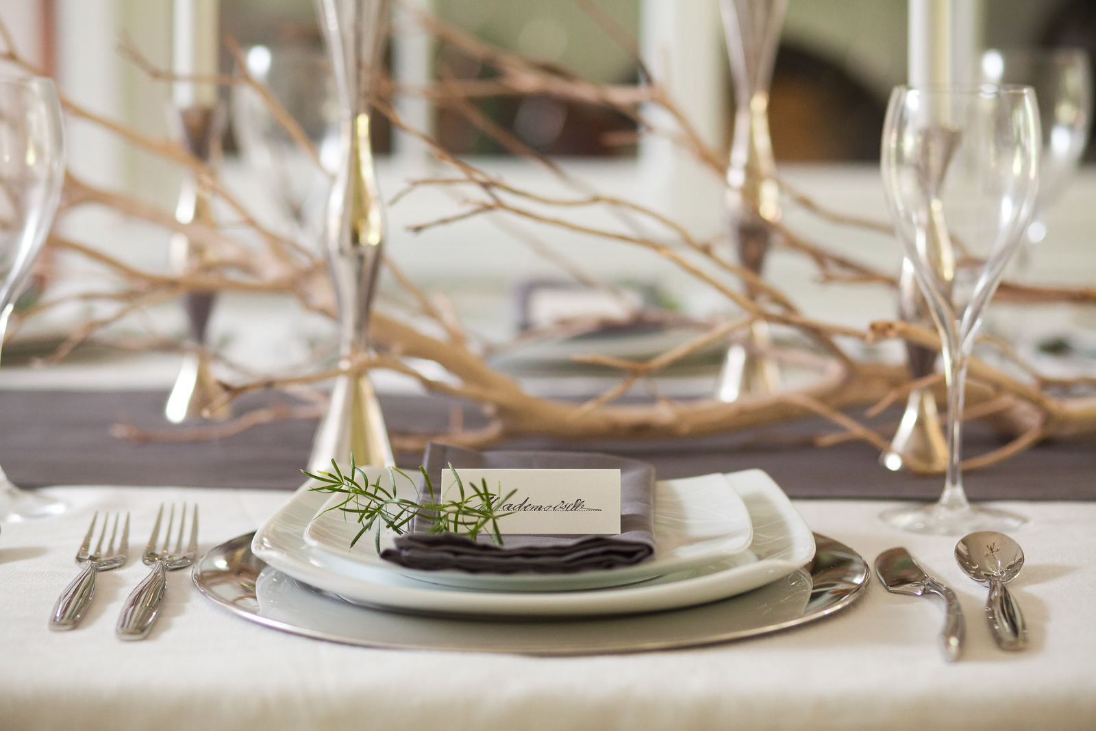 Place Setting using a stainless charger and white plates