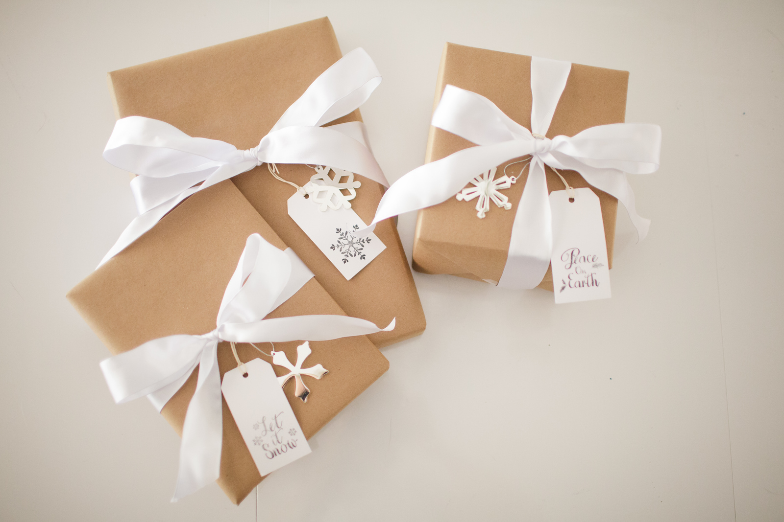 Kraft Paper with White Ribbons and Snowflakes