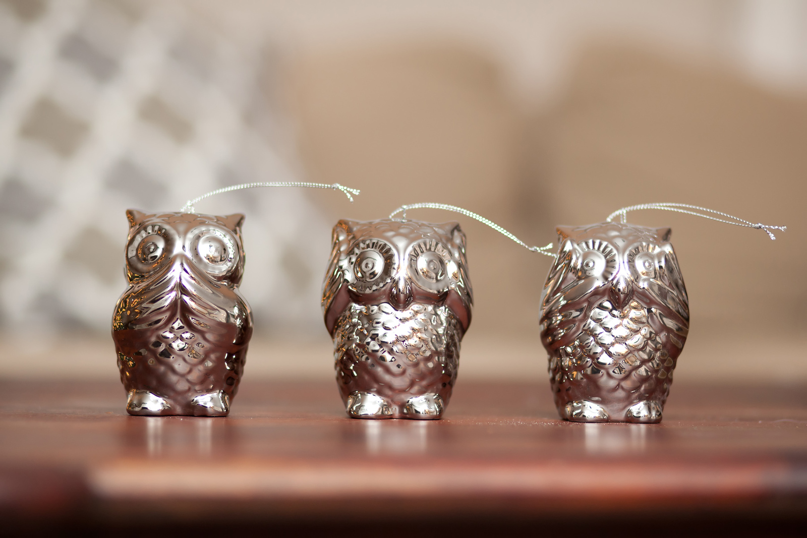 Three Wise Owls ornaments