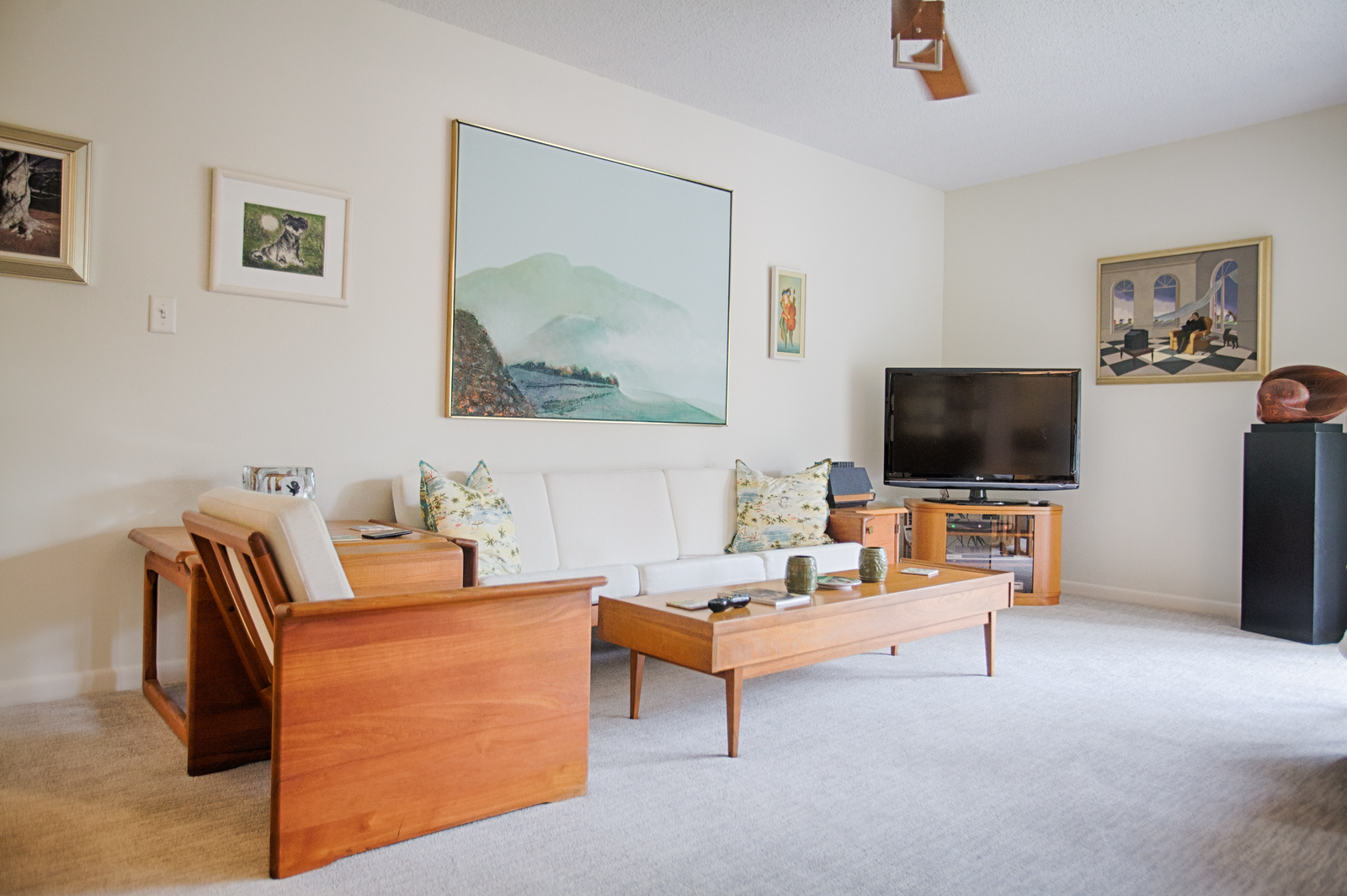 Mid Century Danish Modern Living Room a 1990s florida tropical beach condo gets a mid-century modern