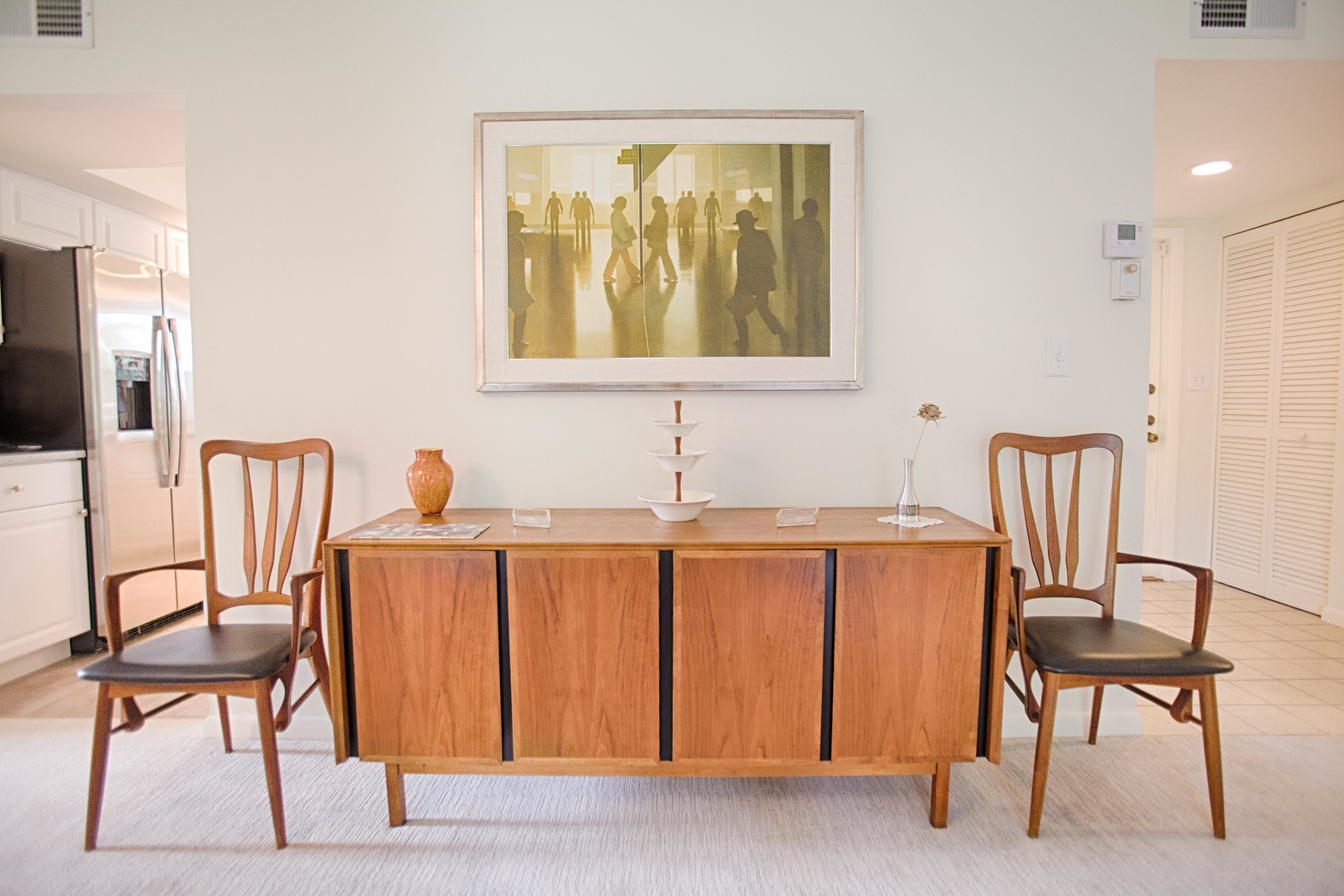 White Mid-Century Modern Dining Room