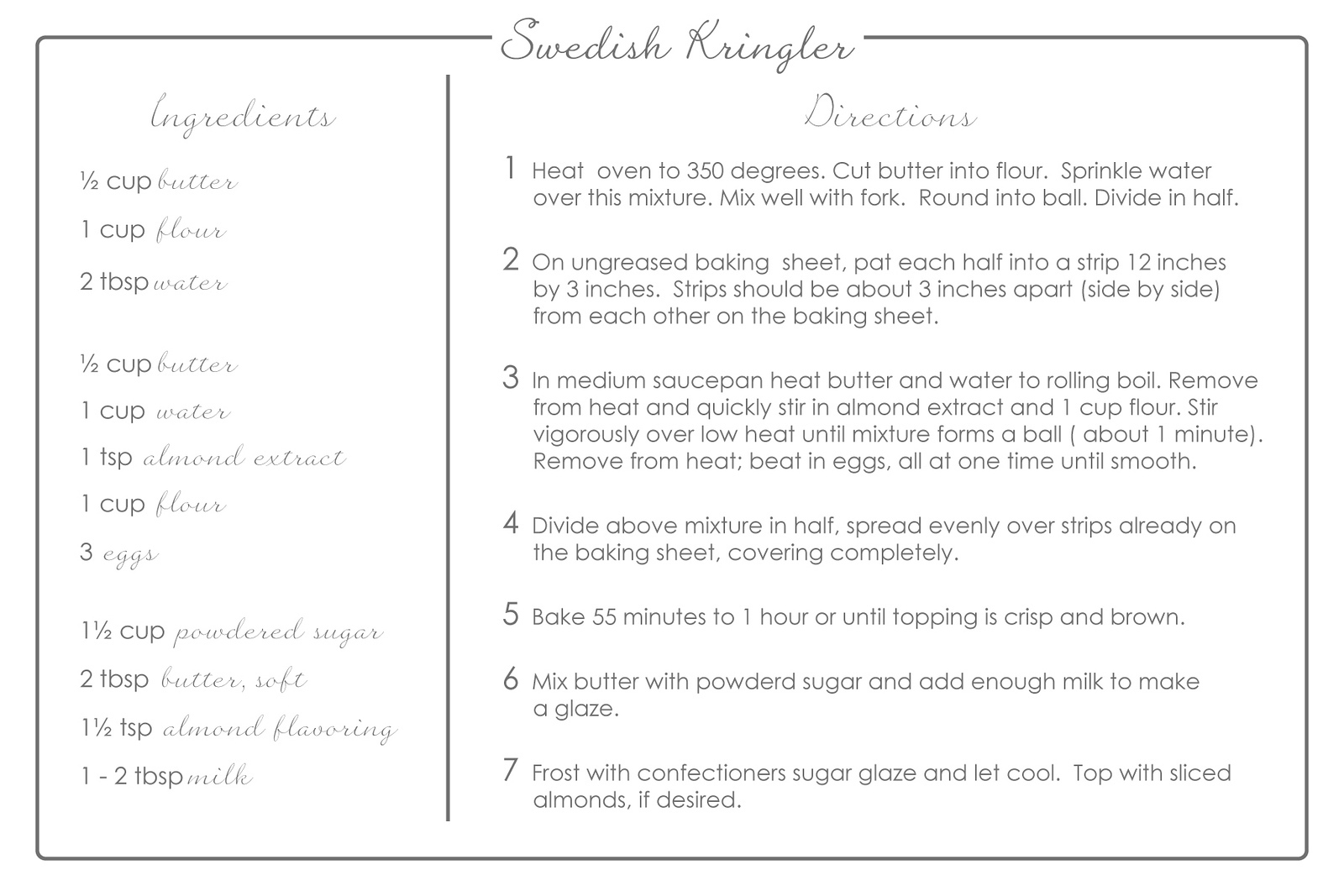 Swedish Kringler Recipe